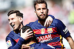 FC Barcelona's Leo Messi, Luis Suarez and Jordi Alba celebrate goal during La Liga match. May 14,2016. (ALTERPHOTOS/Acero)