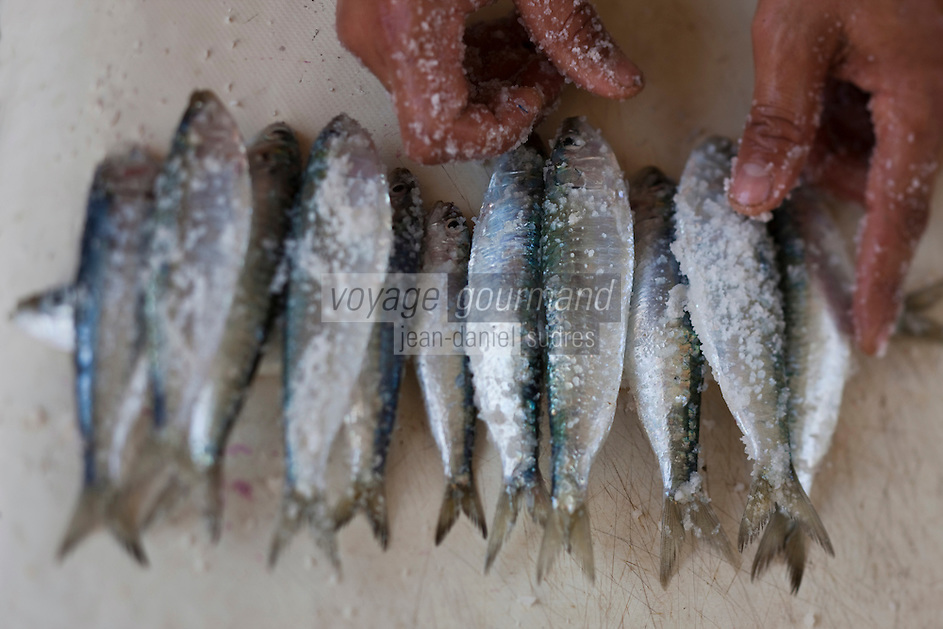 Afrique/Afrique du Nord/Maroc/Essaouira: Sardines au Marché au poisson  du Souk al-Ghezal dans la médina