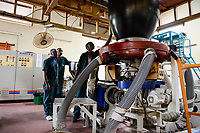 RUANDA, Kigali, plastic recycling at company Ecoplastics, extruder machine KABRA which is generating the plastic liquid from which the plastic foils are manufactured