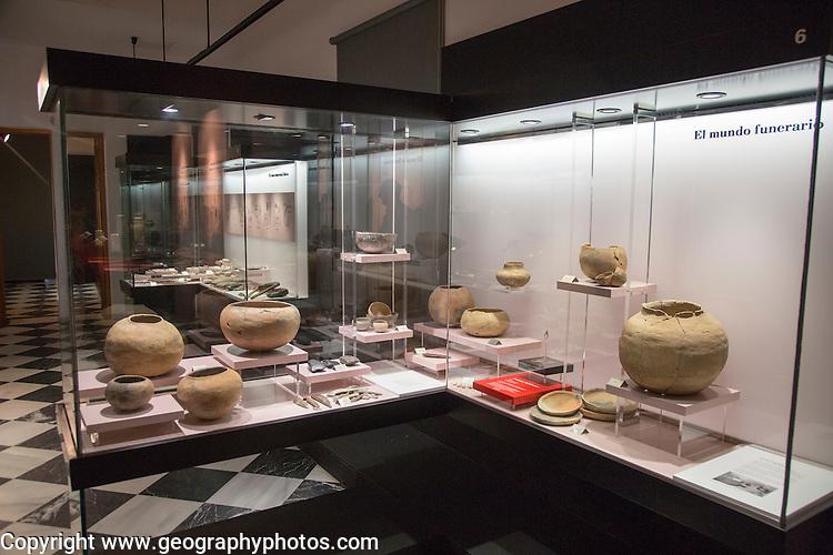 Display of prehistoric funeral pottery, archaeology museum, Jerez de la Frontera, Cadiz Province, Spain