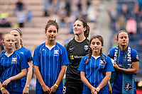Seattle, WA - Sunday, August 13, 2017: Haley Kopmeyer during a regular season National Women's Soccer League (NWSL) match between the Seattle Reign FC and the North Carolina Courage at Memorial Stadium.