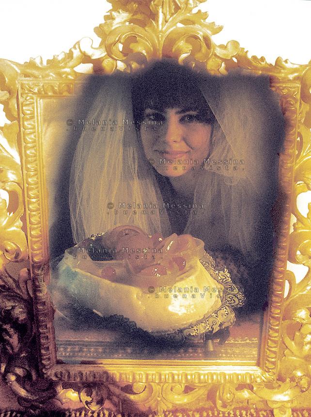 The bride and the Sicilian cake cassata.<br /> La sposa e la cassata siciliana
