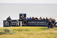 Shane Lowry (IRL) on the 3rd tee during Round 2 of the Alfred Dunhill Links Championship 2019 at Kingbarns Golf CLub, Fife, Scotland. 27/09/2019.<br /> Picture Thos Caffrey / Golffile.ie<br /> <br /> All photo usage must carry mandatory copyright credit (© Golffile | Thos Caffrey)