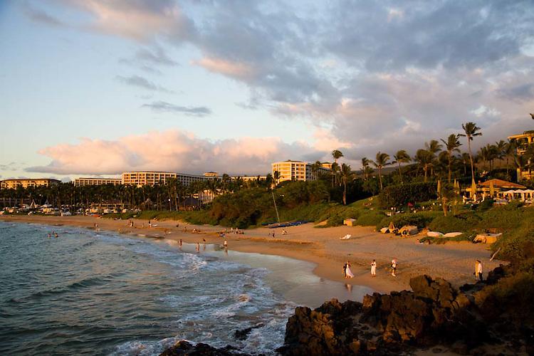 The beach at sunset in Wailea, Maui