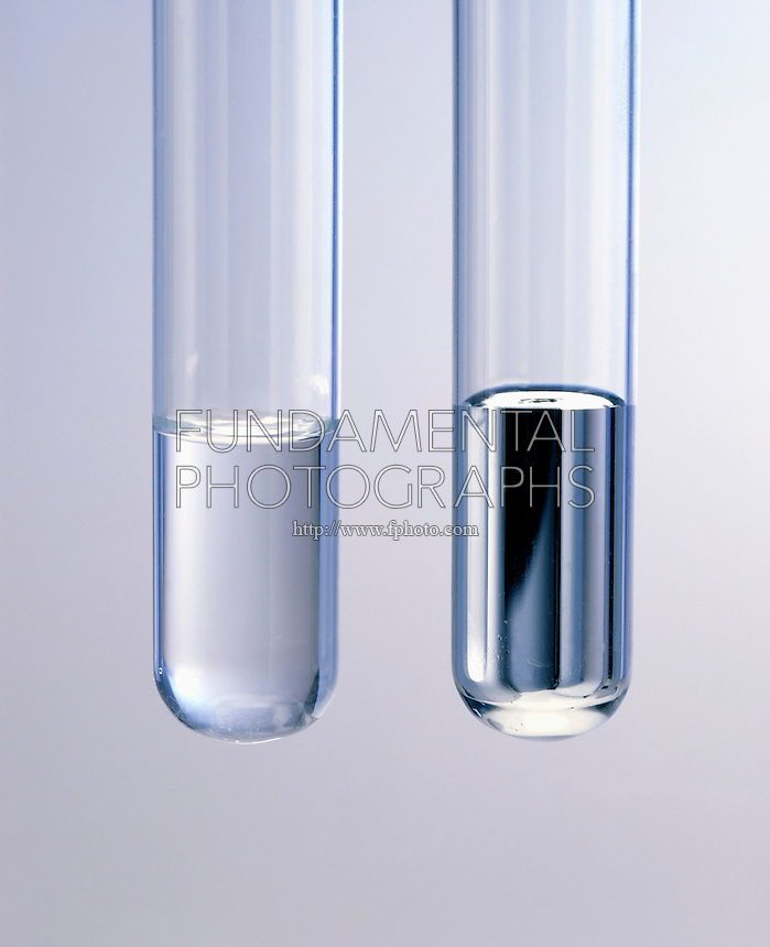 MENISCUS OF WATER &amp; MERCURY<br /> Nonpolar liquid mercury forms a convex meniscus in a glass tube, whereas polar water with a strong adhesion to (polar) glass forms a concave meniscus.