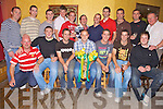 Champions - Members of the Kilmoyley Senior Hurling team pictured celebrating their County Championship in McElligot's Bar, Ardfert on Friday night. Front l/r Maurice Fitzgerald (mentor), Sean Mansell, Shaun Young, Michael O'Regan (Capt.), Niall Young, Seanie Murnane and Joseph McElligot. Back l/r Brendan Harris, James Godley, Andy McCarthy, John B O'Halloran, Joseph O'Sullivan, Pat Deenihan, Padraig O'Sullivan, Billy Brick, Maurice Murnane, Tom Murnane and selector Maurice McElligot.......................................................................................................................................................................................................................................................................................... ............