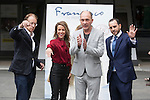 Movie director Beda Docampo (L), Argentinian actor Dario Grandinetti (2R) and Spanish actress Silvia Abascal pose during `Francisco´ film presentation in Madrid, Spain. September 15, 2015. (ALTERPHOTOS/Victor Blanco)