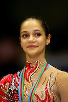 Irina Tchachina of Russia smiles during All-Around medals ceremony at World Championships at Baku, Azerbaijan on October 8, 2005. (Photo by Tom Theobald)