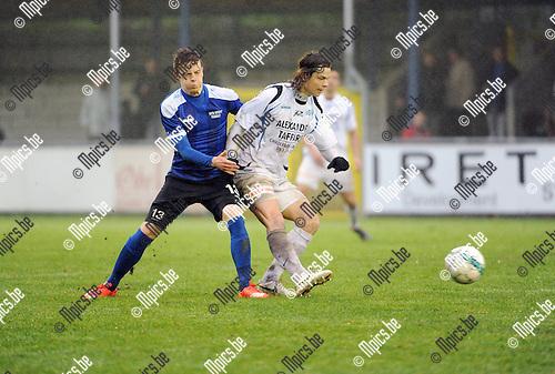 2016-01-31 / Voetbal / Seizoen 2015-2016 / Rupel-Boom - RU Ciney / Wannes Van Tricht (l. R-B) met Jonathan Coquelle<br /> <br /> Foto: Mpics.be