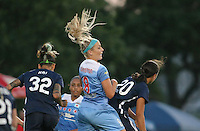Piscataway, NJ - Saturday Aug. 27, 2016: Tasha Kai, Julie Johnston, Samantha Kerr during a regular season National Women's Soccer League (NWSL) match between Sky Blue FC and the Chicago Red Stars at Yurcak Field.