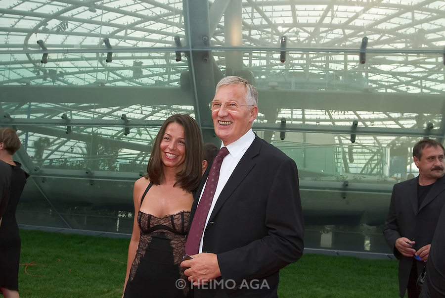"""Billa President Veit Schalle and Jeanette Kath..Hangar-7, the spectacular new home of the Flying Bulls (""""Red Bull"""" owner Didi Mateschitz' collection of classic airplanes), opens with aeronautical highlights like Karlheinz Stockhausen's """"Helicopter String Quartet"""", a production of the Salzburg Festival, and """"Taurus Rubens"""", a spectacular Theater for Flying Machines."""