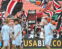 Barra Brava fan club of D.C. United take their places during an MLS match against the Colorado Rapids on May 15 2010, at RFK Stadium in Washington D.C. Colorado won 1-0.