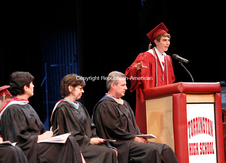 Torrington, CT-17 June 2012-061712CM14-    Torrington High School graduate and President of the Executive Board, Matthew Cavagnero addresses the audience during commencement exercises Sunday night at the Warner Theatre.     Christopher Massa Republican-American
