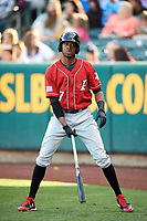 Rosell Herrera (7) of the Albuquerque Isotopes on deck against the Salt Lake Bees in Pacific Coast League action at Smith's Ballpark on June 10, 2017 in Salt Lake City, Utah. The Isotopes defeated the Bees 4-2. (Stephen Smith/Four Seam Images)
