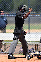 Umpire Edwin Moscoso makes a call during the first game of a doubleheader between the GCL Braves and GCL Yankees 1 on July 1, 2014 at the Yankees Minor League Complex in Tampa, Florida.  GCL Yankees 1 defeated the GCL Braves 7-1.  (Mike Janes/Four Seam Images)