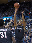 San Diego State forward Matt Mitchell (11) shoots against Nevada in the first half of an NCAA college basketball game in Reno, Nev., Saturday, Mar. 9, 2019. (AP Photo/Tom R. Smedes)