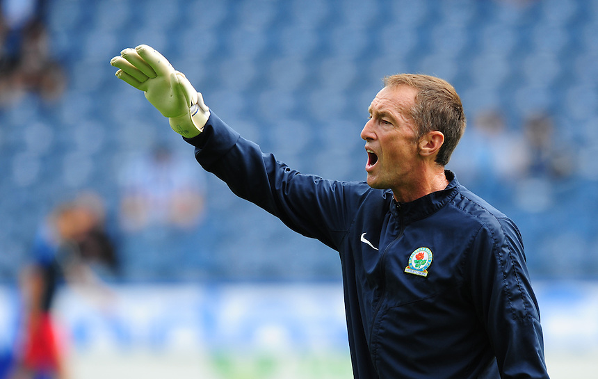 Blackburn Rovers' goalkeeping coach John Keeley during the pre-match warm-up <br /> <br /> Photographer Chris Vaughan/CameraSport<br /> <br /> Football - The Football League Sky Bet Championship - Huddersfield Town v Blackburn Rovers - Saturday 15th August 2015 - The John Smith's Stadium - Huddersfield<br /> <br /> &copy; CameraSport - 43 Linden Ave. Countesthorpe. Leicester. England. LE8 5PG - Tel: +44 (0) 116 277 4147 - admin@camerasport.com - www.camerasport.com