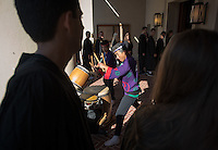 Taiko drummers welcome incoming first-years as they start the year at Occidental College's 127th annual Convocation ceremony on Aug. 28, 2013 in Thorne Hall.<br /> (Photo by Marc Campos, Occidental College Photographer)