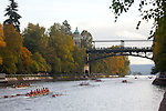 Rowing, Head of the Lake Regatta, November 2 2014, Seattle, Washington State, Lake Washington Rowing Club, Annual Regatta, Regatta Course, head race,  University of Washington, Montlake Cut,