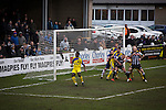 The home team on the attack during the first-half at Victory Park, as Chorley played Altrincham (in yellow) in a Vanarama National League North fixture. Chorley were founded in 1883 and moved into their present ground in 1920. The match was won by the home team by 2-0, watched by an above-average attendance of 1127.