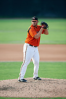 Bowie Baysox starting pitcher Brian Gonzalez (25) gets ready to deliver a pitch during the first game of a doubleheader against the Trenton Thunder on June 13, 2018 at Prince George's Stadium in Bowie, Maryland.  Trenton defeated Bowie 4-3.  (Mike Janes/Four Seam Images)