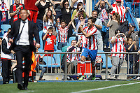 01.04.2012 MADRID, SPAIN -  La Liga match played between At. Madrid vs Getafe (3-0) at Vicente Calderon stadium. the picture show Diego Ribas da Cunha (Brazilian midfielder of At. Madrid) celebrating his team's goal