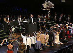 """Kevin Stites, Jack McBrayer, Rachel Dratch, Jerry O'Connell, Laura Osnes, Tony Yazbeck, Rachel Bloom, Harry Groener, Nancy Opel, Mark Linn-Baker with cast during the Manhattan Concert Productions 25th Anniversary concert performance of """"Crazy for You"""" at David Geffen Hall, Lincoln Center on February 19, 2017 in New York City."""