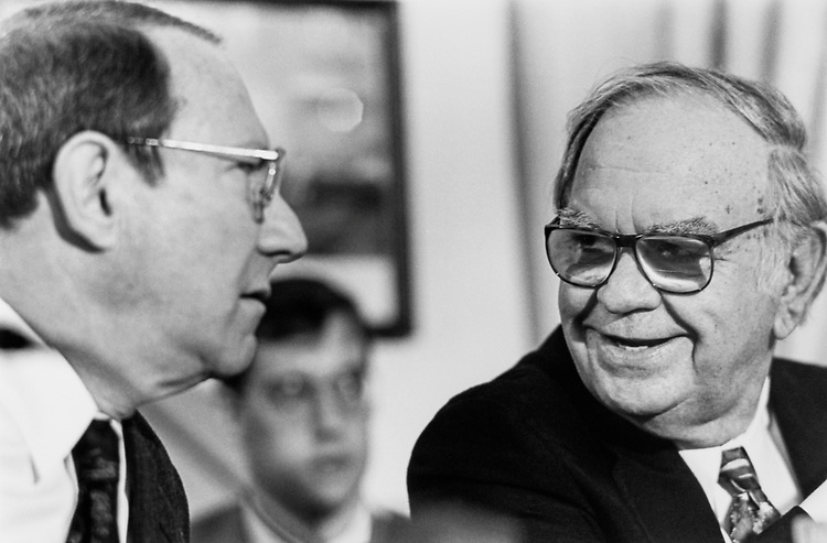 Rep. Joe Moakley, D-Mass. with Rep. Anthony C. Beilenson, D-Calif. at a House Rules hearing on term limits on Mar. 9, 1995. (Photo by Chris Martin/CQ Roll Call)