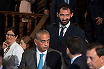 President of the FEB, Jose Luis Saez and Spanish basketball player Jorge Garbajosa attends to the ceremony of the &quot;Camino Real&quot; award to NBA spanish basketball player Pau Gasol at Alcala de Henares University in Madrid, July 15. 2015.<br />  (ALTERPHOTOS/BorjaB.Hojas)