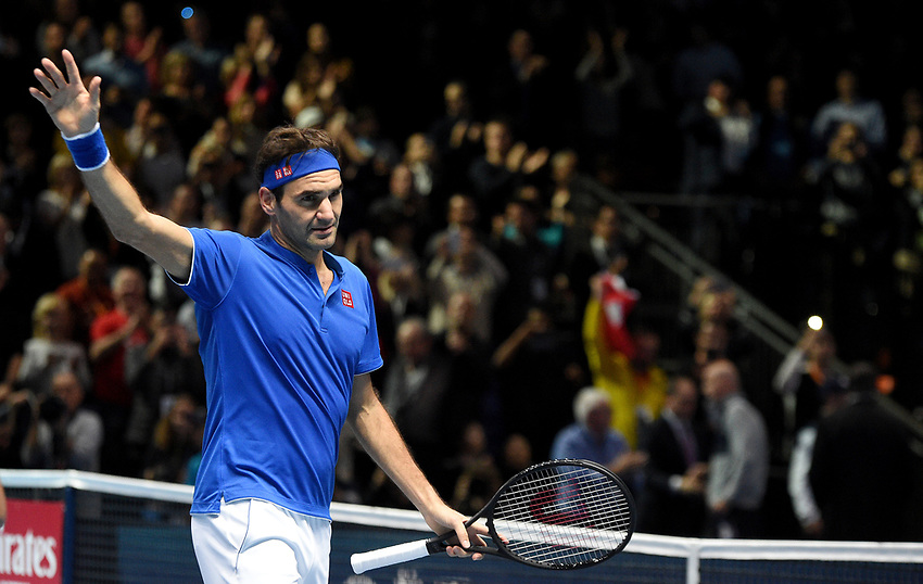Roger Federer (SUI) in action against Dominic Thiem (AUT) in their Group Lleyton Hewitt match<br /> <br /> Photographer Hannah Fountain/CameraSport<br /> <br /> International Tennis - Nitto ATP World Tour Finals Day 3 - O2 Arena - London - Tuesday 13th November 2018<br /> <br /> World Copyright © 2018 CameraSport. All rights reserved. 43 Linden Ave. Countesthorpe. Leicester. England. LE8 5PG - Tel: +44 (0) 116 277 4147 - admin@camerasport.com - www.camerasport.com