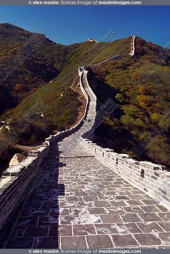 Great Wall of China rising up the mountain. Badaling, Beijing, China.
