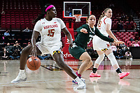 COLLEGE PARK, MD - FEBRUARY 03: Ashley Owusu #15 of Maryland shields the bll from Alyza Winston #3 of Michigan State during a game between Michigan State and Maryland at Xfinity Center on February 03, 2020 in College Park, Maryland.