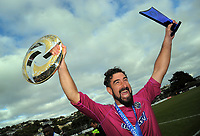 Auckland goalkeeper Enaut Zubikarai celebrates victory during the Oceania Football Championship final (second leg) football match between Team Wellington and Auckland City FC at David Farrington Park in Wellington, New Zealand on Sunday, 7 May 2017. Photo: Dave Lintott / lintottphoto.co.nz