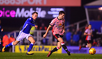 Adam Matthews of Sunderland is chased down by Maikel Kieftenbeld of Birmingham during the Sky Bet Championship match between Birmingham City and Sunderland at St Andrews, Birmingham, England on 30 January 2018. Photo by Bradley Collyer / PRiME Media Images.