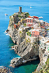 Birds eye vie of Vernazza from the south. Cinque Terre, Italy