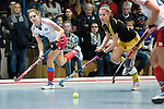 Mannheim, Germany, January 24: During the 1. Bundesliga Damen Hallensaison 2014/15 quarter-final hockey match between Mannheimer HC (white) and Harvestehuder THC (black) on January 24, 2015 at Irma-Roechling-Halle in Mannheim, Germany. Final score 2-3 (2-2). (Photo by Dirk Markgraf / www.265-images.com) *** Local caption *** Charlotte van Bodegom #14 of Mannheimer HC, Anabel Herzsprung #8 of Harvestehuder THC