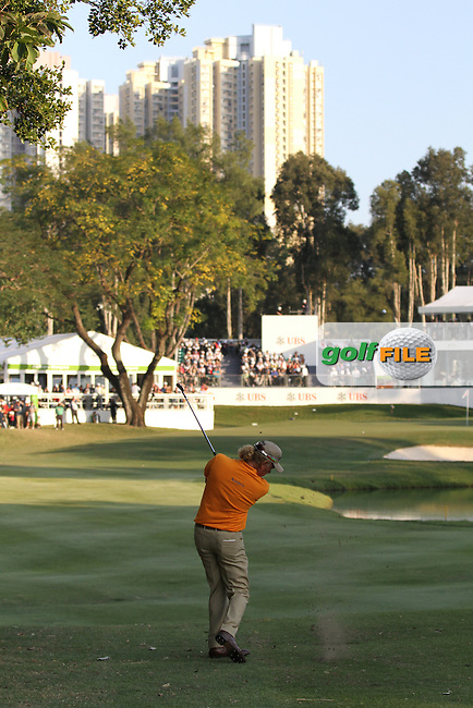 Miguel Angel Jimenez (ESP) hits his second shot on the 18th on Day 3 of the UBS Hong Kong Open 2011...Photo GOLFFILE/Jenny Matthews.(Photo credit should read Jenny Matthews/GOLFFILE)..