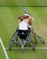 Yui Kamji (JPN) and Jordanne Whiley (GBR) celebrate their victory over Marjolein Buis (NED) &amp; Diede De Groot (NED) in the Final of the Ladies' Wheelchair Doubles - Kamji/Whiley def Buis/De Groot 2-6, 6-3, 6-0<br /> <br /> Photographer Ashley Western/CameraSport<br /> <br /> Wimbledon Lawn Tennis Championships - Day 13 - Sunday 16th July 2017 -  All England Lawn Tennis and Croquet Club - Wimbledon - London - England<br /> <br /> World Copyright &not;&copy; 2017 CameraSport. All rights reserved. 43 Linden Ave. Countesthorpe. Leicester. England. LE8 5PG - Tel: +44 (0) 116 277 4147 - admin@camerasport.com - www.camerasport.com