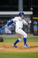 Chris DeVito (34) of the Burlington Royals follows through on his swing against the Bluefield Blue Jays at Burlington Athletic Stadium on June 27, 2016 in Burlington, North Carolina.  The Royals defeated the Blue Jays 9-4.  (Brian Westerholt/Four Seam Images)