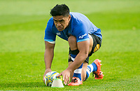 Bath Rugby's Ben Tapuai during the pre match warm up<br /> <br /> Photographer Bob Bradford/CameraSport<br /> <br /> Aviva Premiership - Bath Rugby v Worcester Warriors - Saturday 7th October 2017 - The Recreation Ground - Bath<br /> <br /> World Copyright &copy; 2017 CameraSport. All rights reserved. 43 Linden Ave. Countesthorpe. Leicester. England. LE8 5PG - Tel: +44 (0) 116 277 4147 - admin@camerasport.com - www.camerasport.com