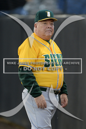 Siena Saints head coach Tony Rossi (40) before the season opening game against the Central Florida Knights at Jay Bergman Field on February 14, 2014 in Orlando, Florida.  UCF defeated Siena 8-1.  (Copyright Mike Janes Photography)