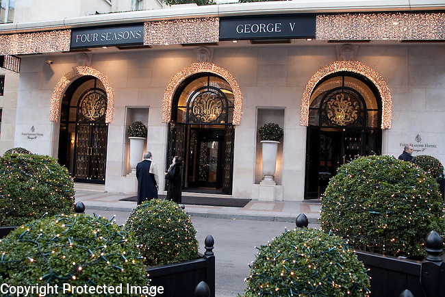 Entrance of Four Seasons George V Hotel in Paris Illuminated at Night, France
