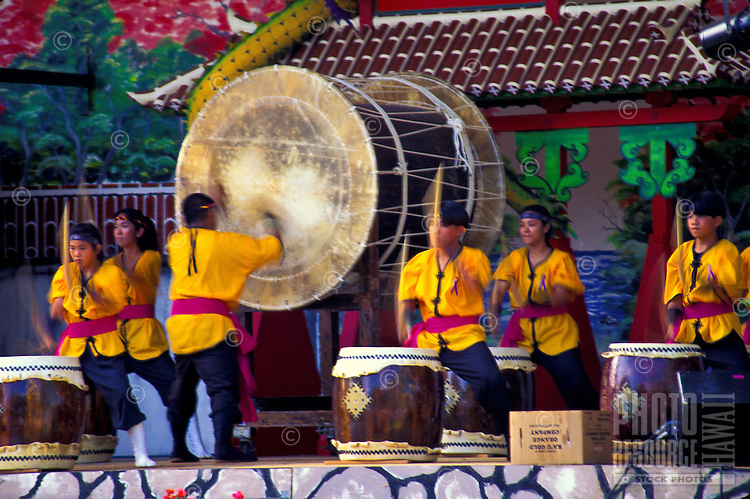Taiko drummers at a Japanese festival in Kapiolani Park, Waikiki, Honolulu, Oahu, Hawaii
