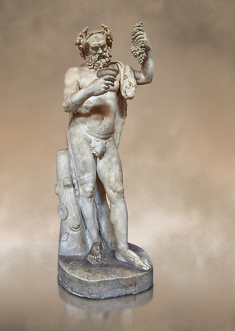 1st century AD Roman statue of Silenus pouring wine from a jug. The head is from the Flavian period and the body 1st century. A copy of an earlier Hwellenistic sculpture by the school of Lysippus, inv 323, Vatican Museum Rome, Italy,  art background