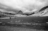 Mount Sinopah as seen from Two Medicine Lake in Glacier National Park. The Two Medicine area was the gathering for religious ceremonies by the Blackfoot nation. Infrared black and white photo.