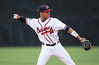 Danville Braves shortstop Derian Cruz (7) warms up between innings of the game against the Princeton Rays at American Legion Post 325 Field on June 25, 2017 in Danville, Virginia.  The Braves walked-off the Rays 7-6 in 11 innings.  (Brian Westerholt/Four Seam Images)