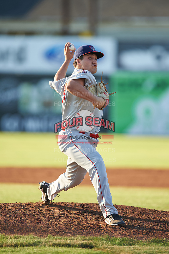 Auburn Doubledays starting pitcher Nick Raquet (32) delivers a warmup pitch during a game against the Batavia Muckdogs on July 4, 2017 at Dwyer Stadium in Batavia, New York.  Batavia defeated Auburn 3-2.  (Mike Janes/Four Seam Images)