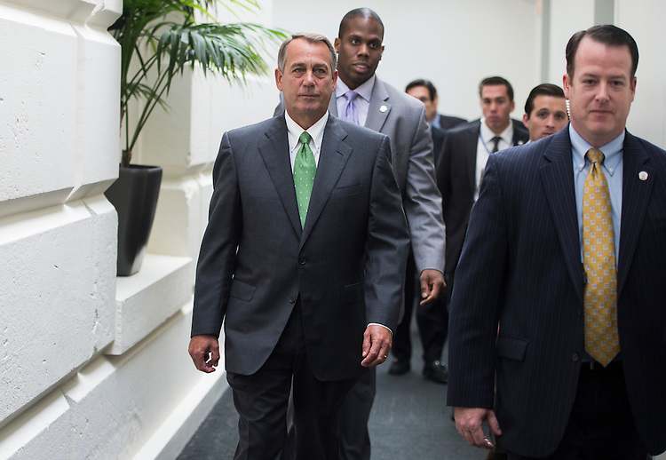 UNITED STATES - SEPTEMBER 26: Speaker of the House John Boehner, R-Ohio, leaves the House Republican Conference meeting in the basement of the Capitol on Thursday, Sept. 26, 2013. (Photo By Bill Clark/CQ Roll Call)