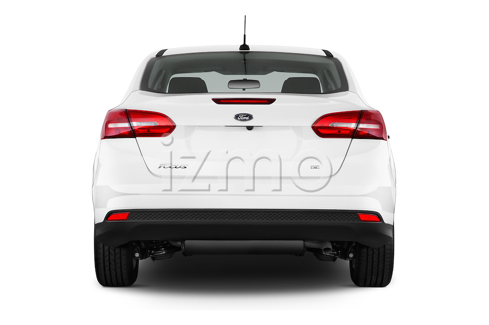 Straight rear view of a 2015 Ford Focus SE Sedan 4 Door Sedan Rear View  stock images