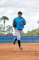 Miami Marlins Victor Mesa Jr. (10) jogs to the dugout during a Minor League Extended Spring Training game against the New York Mets on April 12, 2019 at the First Data Field Complex in St. Lucie, Florida.  (Mike Janes/Four Seam Images)